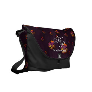 Initals Cute Shamrocks Design Messenger Bag