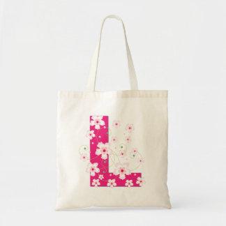 initiaI L la bolsa de asas bonita florida floral d