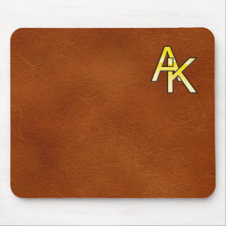 initial A and K out of gold on leather bottom Mouse Pad
