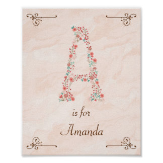 Initial A Baby Name Monogram Art Print