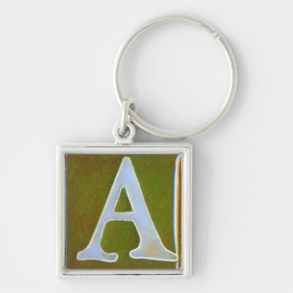 initial A keychain, opalescent white and green