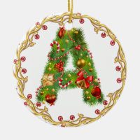 initial A monogrammed christmas ornament - circle