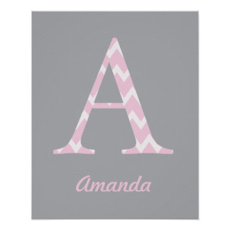 "Initial ""A"" Personalized Chevron Pink Baby Name Poster"