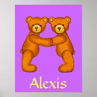 Initial A~Teddy Bear Alphabet Letter~Custom Name Poster
