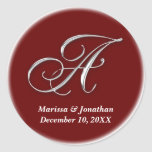 Initial A wine red monogram custom name favor seal Stickers
