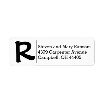 GinghamGrins Initial and Full name return address stamp Label