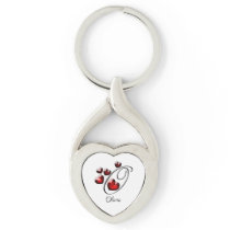 Initial and Hearts Keychain