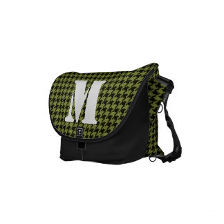 Initial:  Army Green and Black Houndstooth Pattern Small Messenger Bag