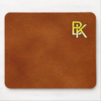 initial B and K out of gold on leather bottom Mouse Pad