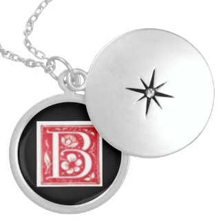 Initial B Medium Silver Plated Round Locket