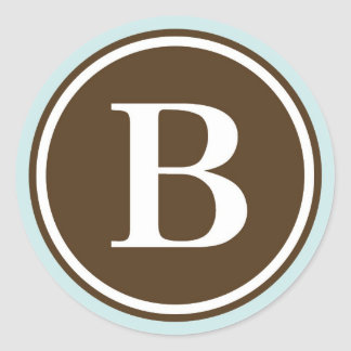 Initial B monogram circle letter seal party favor Round Sticker