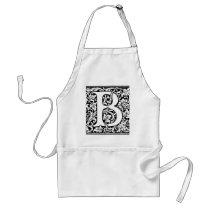 Initial B Monogram. Customized Name Floral Pattern Adult Apron