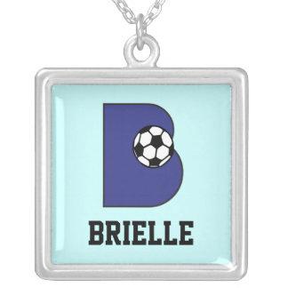Initial B Monogram in Soccer Blue Square Pendant Necklace