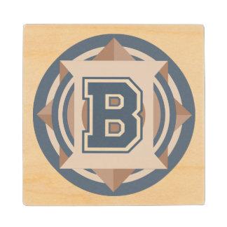 Initial B Monogram Wooden Coaster