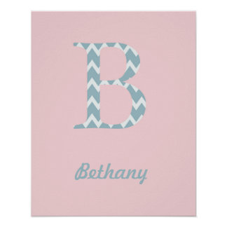 """Initial """"B"""" Personalized Chevron Baby Girl Name Poster"""