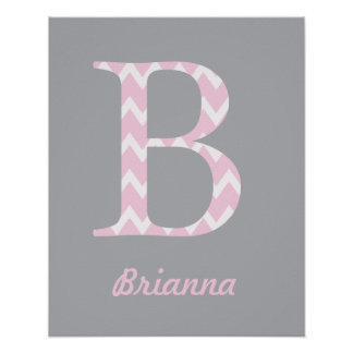 """Initial """"B"""" Personalized Chevron Pink Baby Name Poster"""
