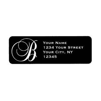 Initial B Return Address Labels Black White