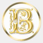 Initial B Round Sticker in Gold
