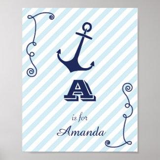 Initial Baby Name Monogram Art Print