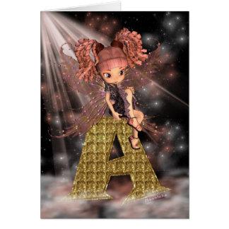 Initial Birthday Card A, Cute little fairy