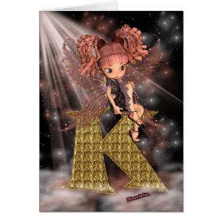 Initial Birthday Card K, Cute little fairy