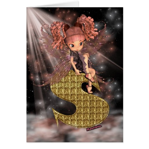 Initial Birthday Card S, Cute little fairy