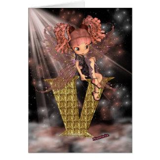 Initial Birthday Card V, Cute little fairy