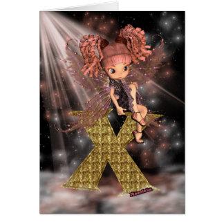 Initial Birthday Card X Cute little fairy