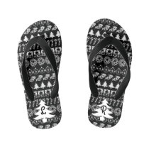 Initial: Black & White Christmas Iconic Pattern Kid's Flip Flops