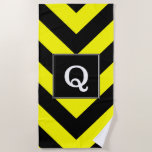 [ Thumbnail: Initial + Black & Yellow Chevron-Like Pattern Beach Towel ]