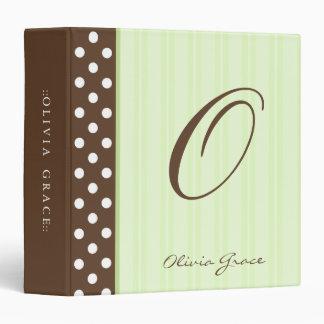 Initial Brown Polkadots/Green Stripes Binder