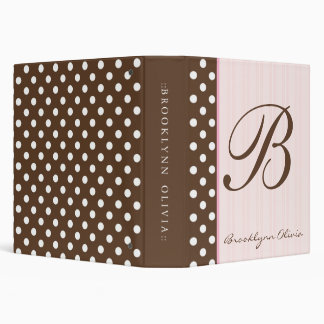 Initial Brown Polkadots/Pink Stripes 3 Ring Binders