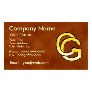 initial C and G out of gold on leather bottom Business Card