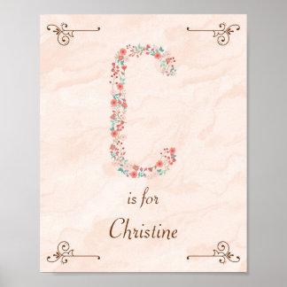 Initial C Baby Name Monogram Art Print