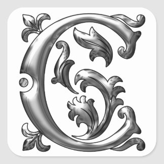 Initial C Capital Letter Sticker in Silver