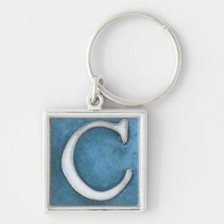 initial C keychain, white and shades of blue