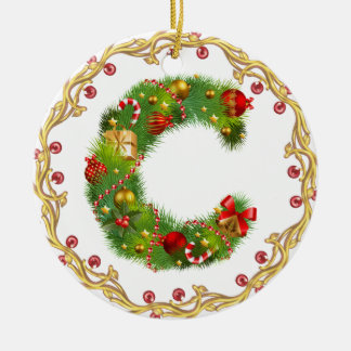 initial C monogrammed christmas ornament - circle