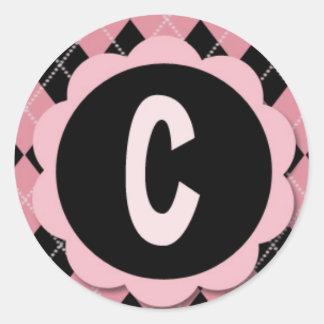 """INITIAL """"C"""" STICKERS - Retro Argyle Monogram"""