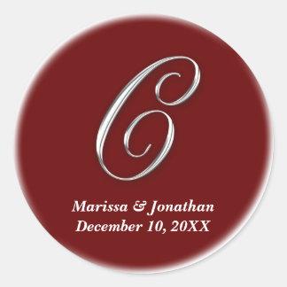 Initial C wine red monogram custom name favor seal Round Sticker