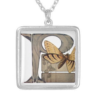Initial Cap Letter P Vintage Bug Silver Plated Necklace