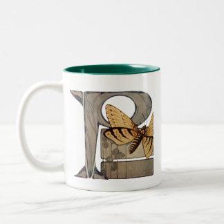 Initial Cap Letter P Vintage Bug Two-Tone Coffee Mug