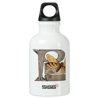 Initial Cap Letter P Vintage Bug Water Bottle
