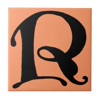 Initial Cap Letter R Vintage Tile