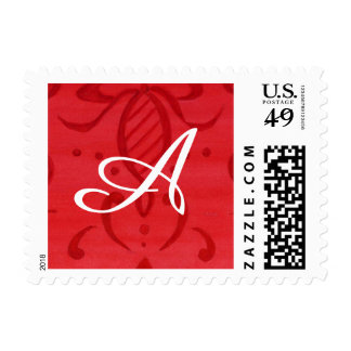 Initial Christmas Postage Stamp Red Damask