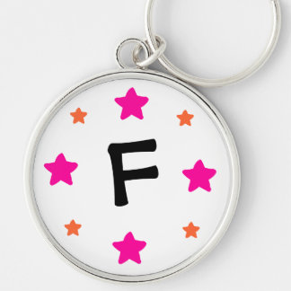 Initial (Customizable) Silver-Colored Round Keychain