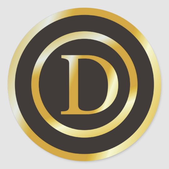 340752b5f1c5 Initial D Gold Monogram Wedding Stickers