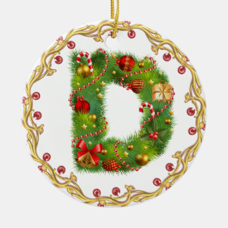 initial D monogrammed christmas ornament - circle