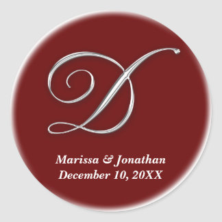 Initial D wine red monogram custom name favor seal Round Stickers