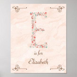 Initial E Baby Name Monogram Art Print