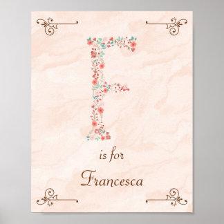 Initial F Baby Name Monogram Art Print